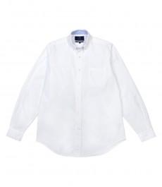 Мужская однотонная рубашка, классический крой, белая oxford