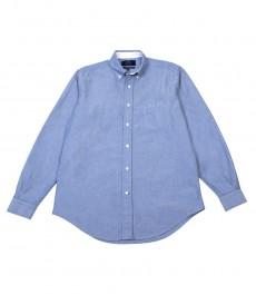 Мужская классическая рубашка, голубая однотонная