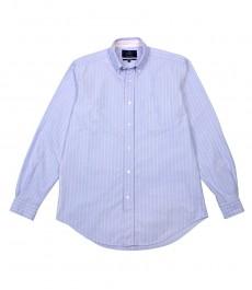 Мужская классическая рубашка Оксфорд в голубую с розовым полоску