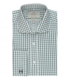 Мужская белая классическая рубашка, в зеленую клетку - срезанный воротник