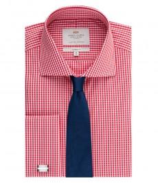 Мужская рубашка, классического прямого кроя, красная в белую клетку - воротник виндзор - манжеты под запонку - легко гладится