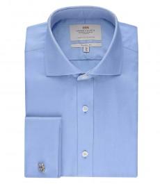 Мужская голубая рубашка, твил, классическая
