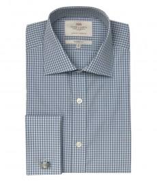 Полуприталенная мужская рубашка Warwick, серая с белым мелкая клетка, двойная манжета