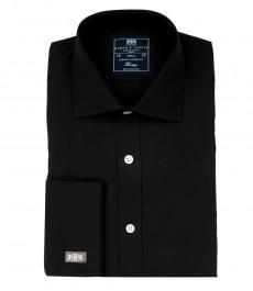 Мужская однотонная черная рубашка, полуприталенная, хлопок.