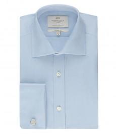 Мужская полуприталенная рубашка, светло-голубая, ткань ёлочка