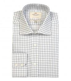 Мужская классическая рубашка, белая в крупную клетку, манжеты на пуговицах