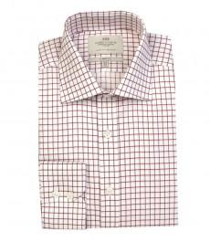 Мужская классическая рубашка в красно-белую частую клетку - одинарная манжета