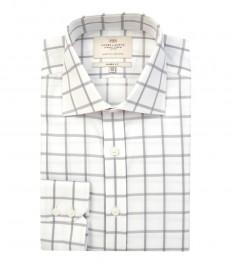 Мужская классическая белая рубашка в крупную серую клетку - одинарная манжета