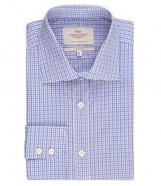 Мужская рубашка, классического кроя, голубая в темно-синюю клетку - манжеты на пуговицах