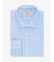Мужская рубашка, классического кроя, голубая в белую клетку - Манжеты на пуговицах - Легко гладится