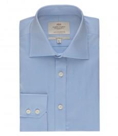 Мужская классическая однотонная, светло-голубая  рубашка  - одинарная манжета
