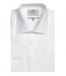 Мужская классическая белая рубашка из высококачественного хлопка - одинарная манжета