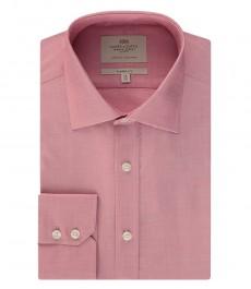 Мужская классическая рубашка, красная, ткань переплетение - манжеты на пуговицах