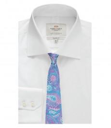 Мужская рубашка, классический крой, белая, узор End-on-End - манжеты на пуговицах - легко гладится