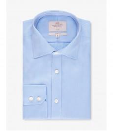 Мужская рубашка, голубая твил, классический крой - Манжеты на пуговицах - Легко гладится