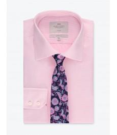 Мужская офисная классическая рубашка, розового цвета, рукав под пуговицу, не требует глажки