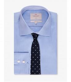 Мужская рубашка, голубая твил, классический крой - Манжеты на пуговица - Легко гладится