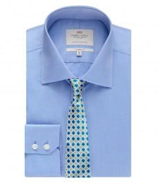 Мужская рубашка, классического кроя, голубая, ткань пике - манжеты на пуговицах - легко гладится