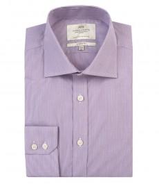 Мужская классическая рубашка сиреневая с белым ткань в тонкую полоску из качественного хлопка - одинарная манжета