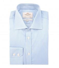 Мужская классического кроя рубашка, голубая в белую полоску - манжеты на пуговицах