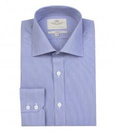 Мужская классическая голубая с белым рубашка ткань в тонкую полоску - одинарная манжета