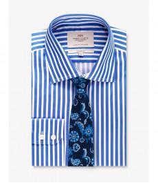 Мужская рубашка, голубая в белую широкую полоску - Манжеты на пуговицах - Легко гладится