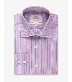 Мужская рубашка, голубая в красную полоску, классический крой - Манжеты на пуговицах - Легко гладится