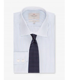 Мужская офисная классическая рубашка, тёмно-синяя с белым полоска, под пуговицу, не требует глажки