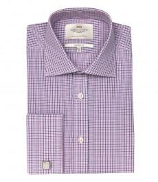 Мужская классическая рубашка Warwick, розовая и тёмно-синия мелкая клетка, двойная манжета