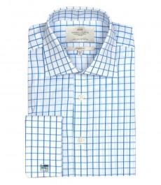 Мужская классическая рубашка Warwick, синяя клетка на белом фоне, двойная манжета