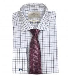 Мужская классическая рубашка Warwick, белая с голубой средняя полоска, двойная манжета