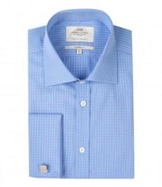 Мужская классическая рубашка Warwick, белая мелкая клетка на голубом фоне, двойная манжета
