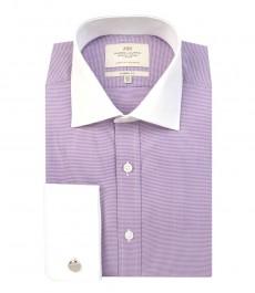 Мужская белая классическая рубашка в мелкую фиолетовую клетку, с белым воротником и манжетами-двойная манжета.