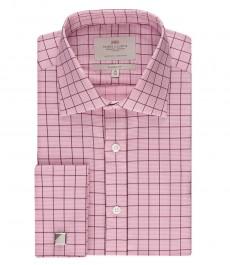 Мужская классическая рубашка , бело-розовая стильная мульти-клетка - под запонку