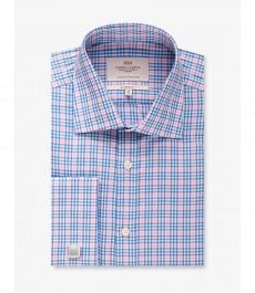Мужская рубашка, розовая в тёмно-синюю клетку, классический крой - Манжеты под запонки - Легко гладится