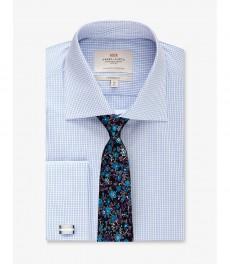 Мужская рубашка, голубая в белую клетку, классический крой - Манжеты под запонки - Легко гладится