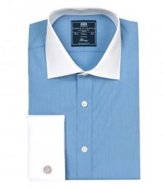 Мужская классическая голубая бизнес рубашка, ткань с переплетением