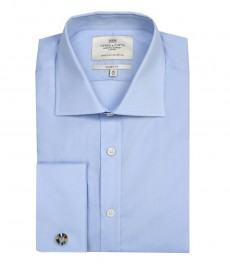 Мужская классическая бизнес рубашка, голубая - поплин - легко гладится