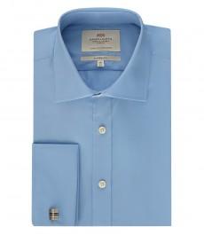 Мужская голубая классическая рубашка - манжеты на запонках