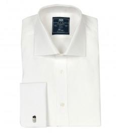 Мужская однотонная рубашка, белая, классическая - поплин