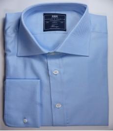 Мужская классическая рубашка Warwick, ткань твил, цвет голубой, двойная манжета