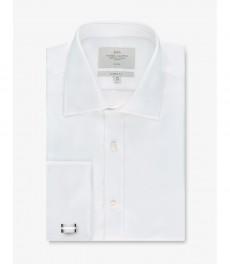 Мужская рубашка, белая хлопок, классический крой - Манжеты под запонки - Легко гладится
