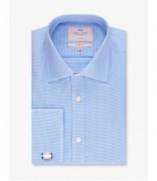 Мужская рубашка, голубая текстурированная, хлопок, классический крой - легко гладится - Манжеты под запонки