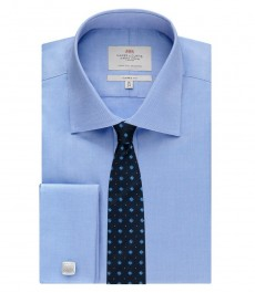 Men's Blue Pique Classic Fit Shirt - Double Cuff - Easy Iron