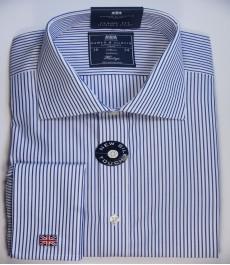 Классическая мужская рубашка Warwick из высококачественного хлопка, двухцветная белая с тёмно-голубым полоска, двойная манжета
