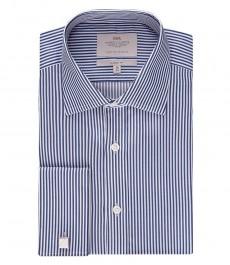 Мужская классическая рубашка, тёмно-синяя с белым бенгальская полоска - под запонку