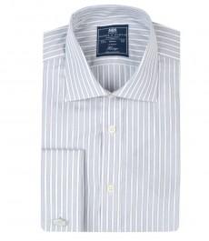 Классическая мужская рубашка Warwick из высококачественного хлопка, белая с серым мульти-полоска, двойная манжета