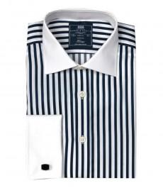 Мужская классическая рубашка Warwick из высококачественного хлопка, белая с тёмно-синим полоска, двойная манжета