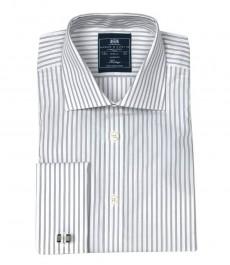 Мужская классическая рубашка Warwick из высококачественного хлопка, двухцветная белая и серая полоска, двойная манжета