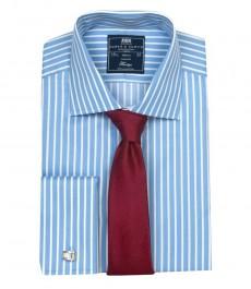 Классическая мужская рубашка Warwick из высококачественного хлопка, двухцветная узкая белая и более широкая голубая полоска, двойная манжета